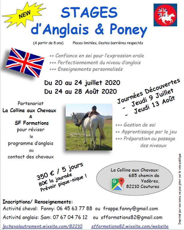 Stages d'anglais et poney