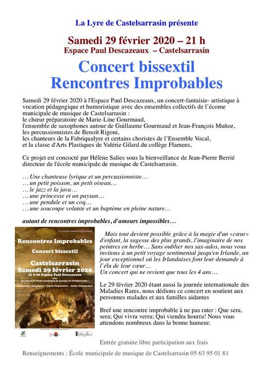 Concert bissextil Rencontres Improbables - 21h