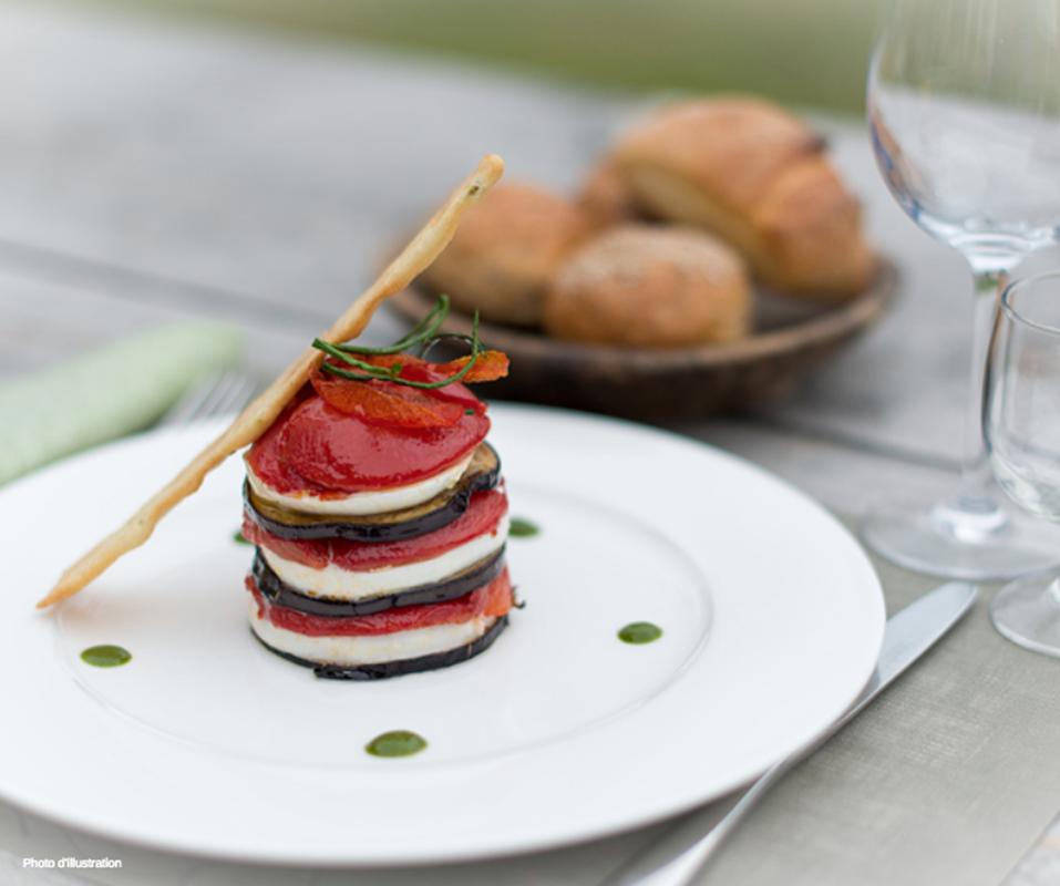Millefeuille aubergine Pélardon