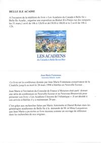 Exposition : Belle Ile Acadie