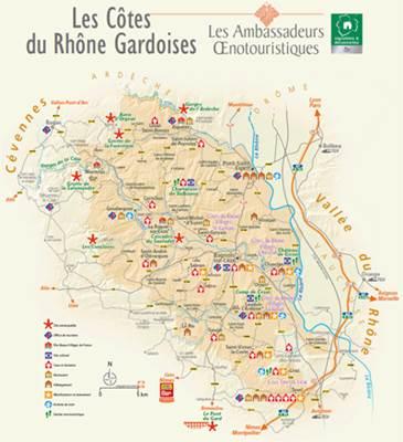 Carte Oenotouristique Côtes du Rhône Gardoises