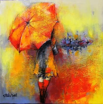 Atelier Nathalie Montel - Femme au parapluie