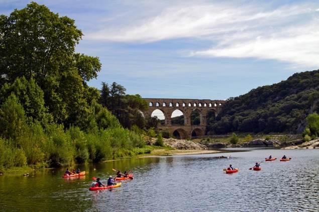Arrivée pont du Gard