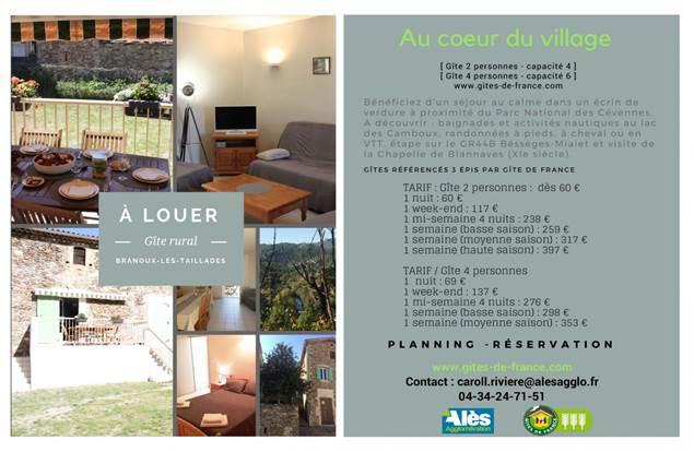 Gîte n°30G12119 – BRANOUX LES TAILLADES – location Gard