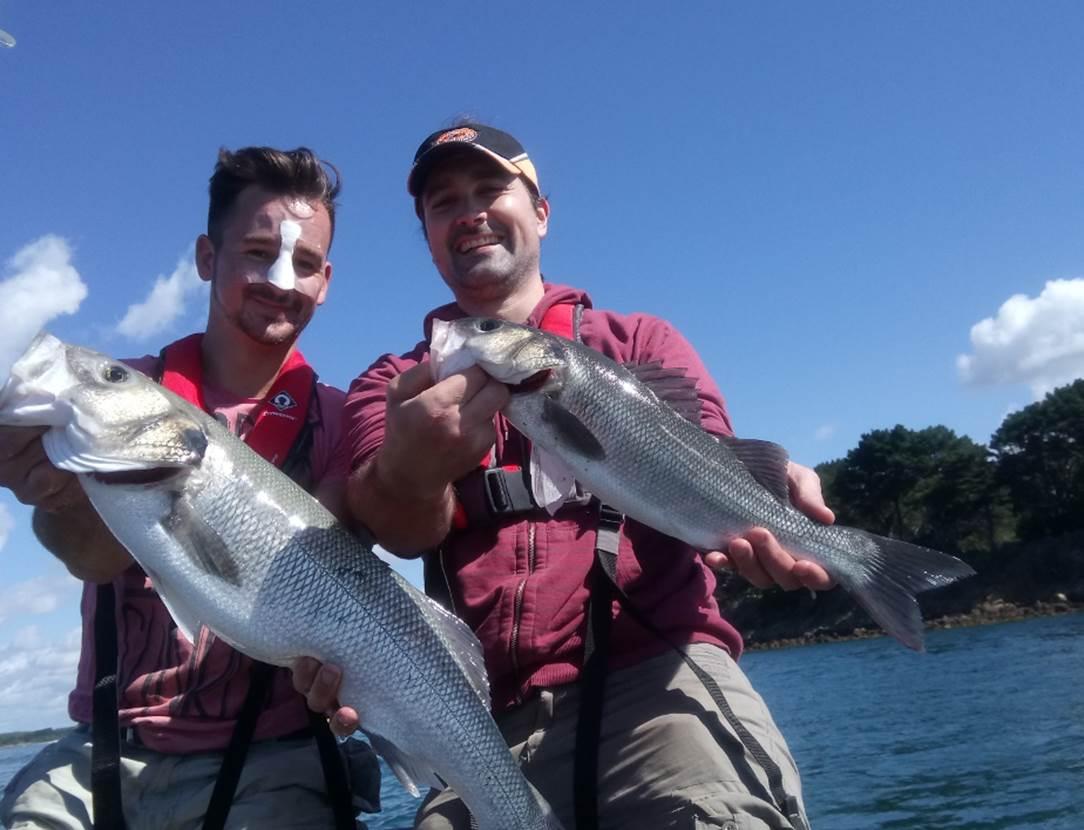 Guide de pêche en mer- Golfe du Morbihan- pêche au bar en bretagne- Sortie pêche en bateau à Sarzeau- Presqu'îles de Rhuys- pêche au bar avec un moniteur-guide de pêche professionnel