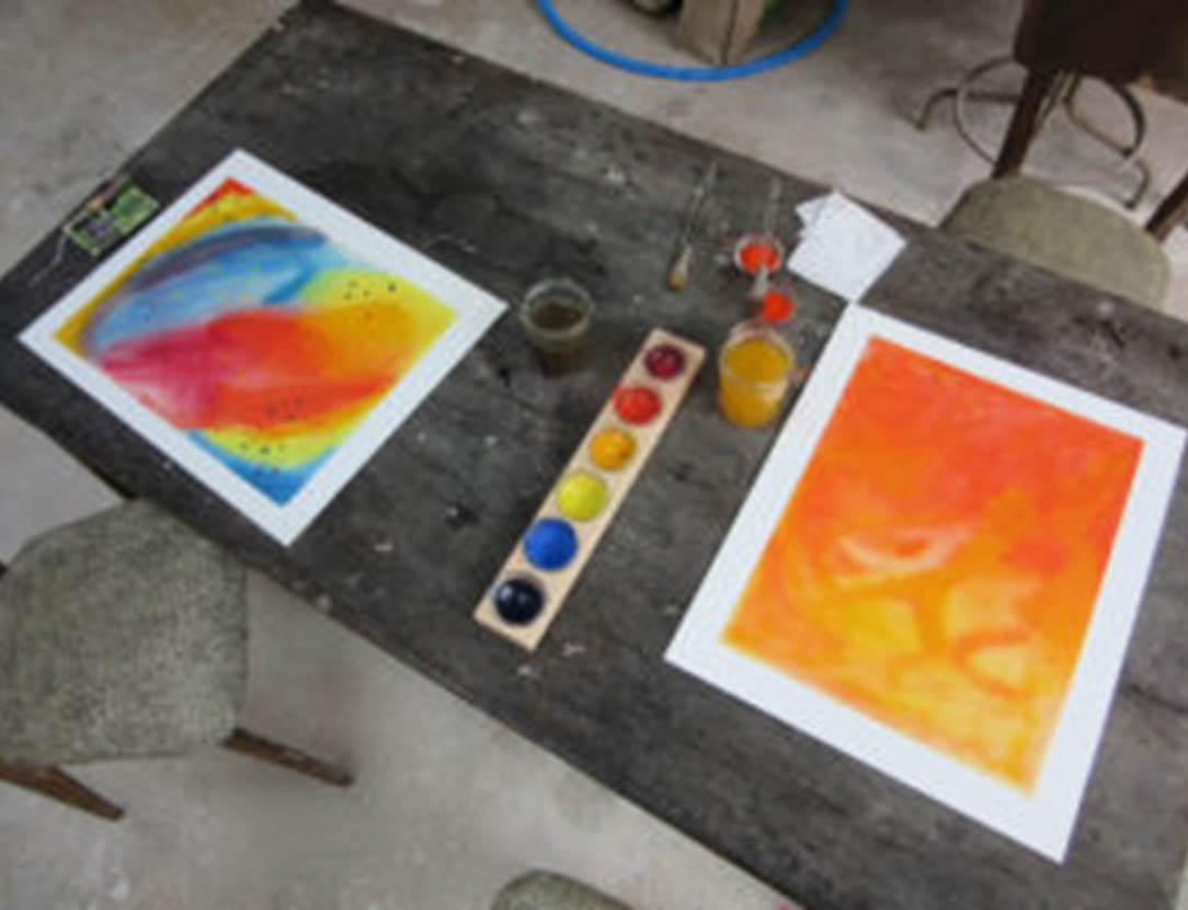 Peinture-sur-papier-mouillé-méthode-Haushka-Elven-Golfe-du-Morbihan-Bretagne sud