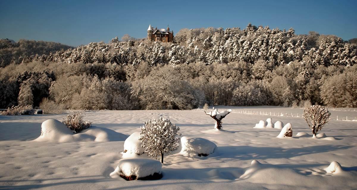 Vue de la terrasse en hiver