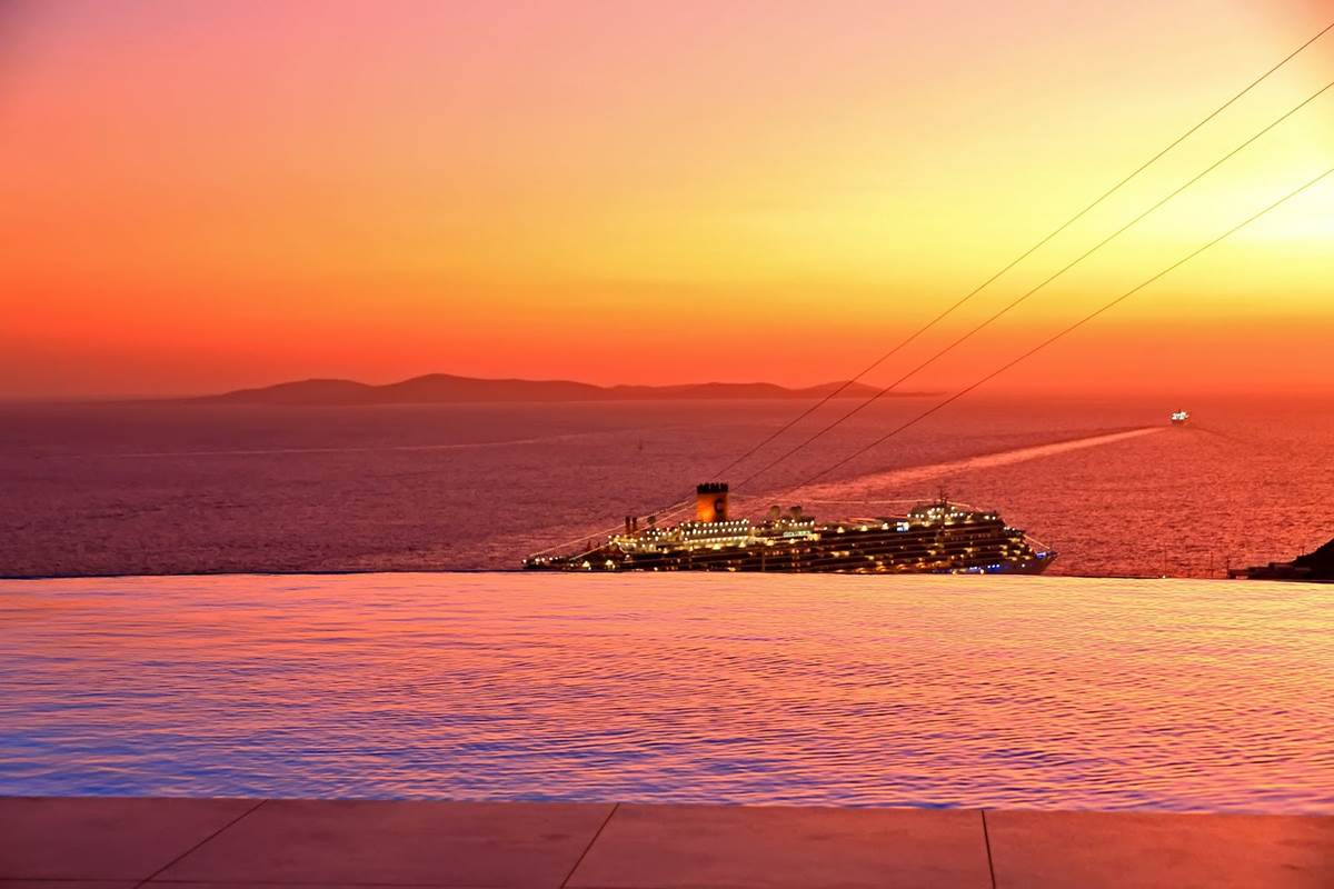 Coucher de soleil villa zélia B&B Mykonos