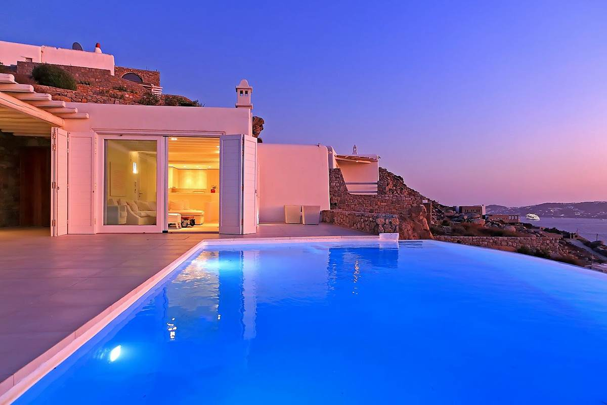 Piscine éclairée villa zélia luxe Mykonos