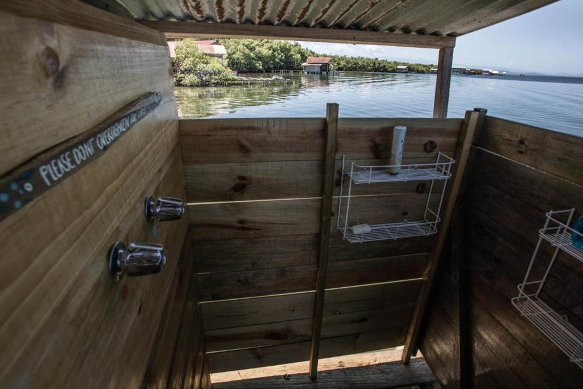 Outdoor shower with sea view
