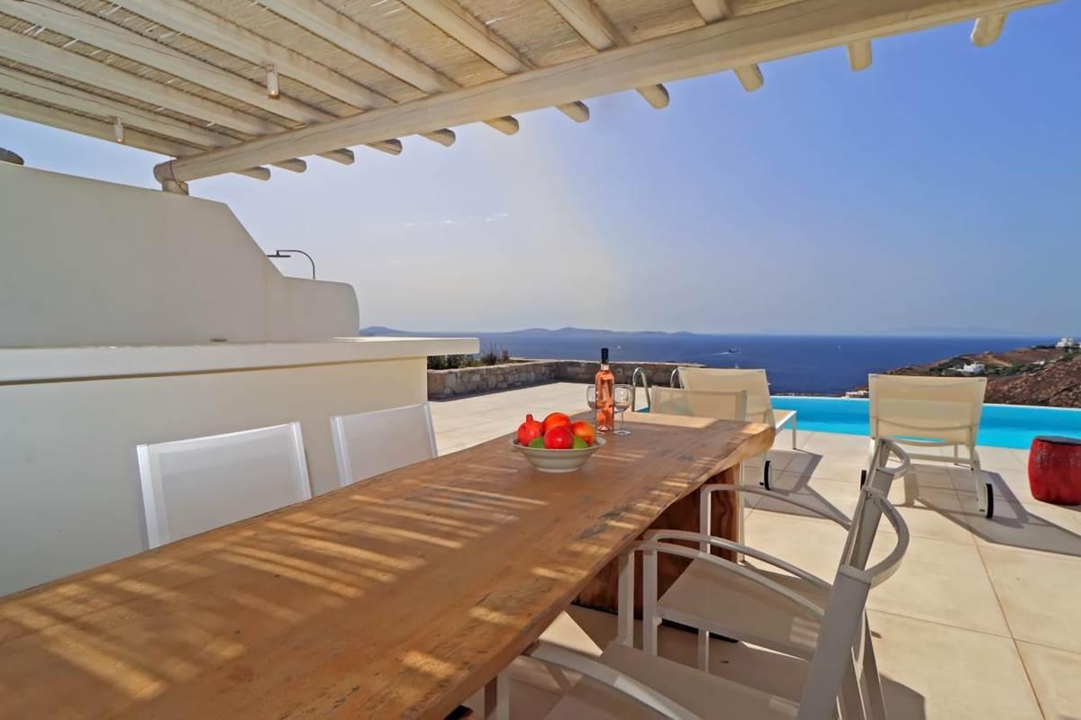 Espace repas villa zélia 2 chambres Mykonos