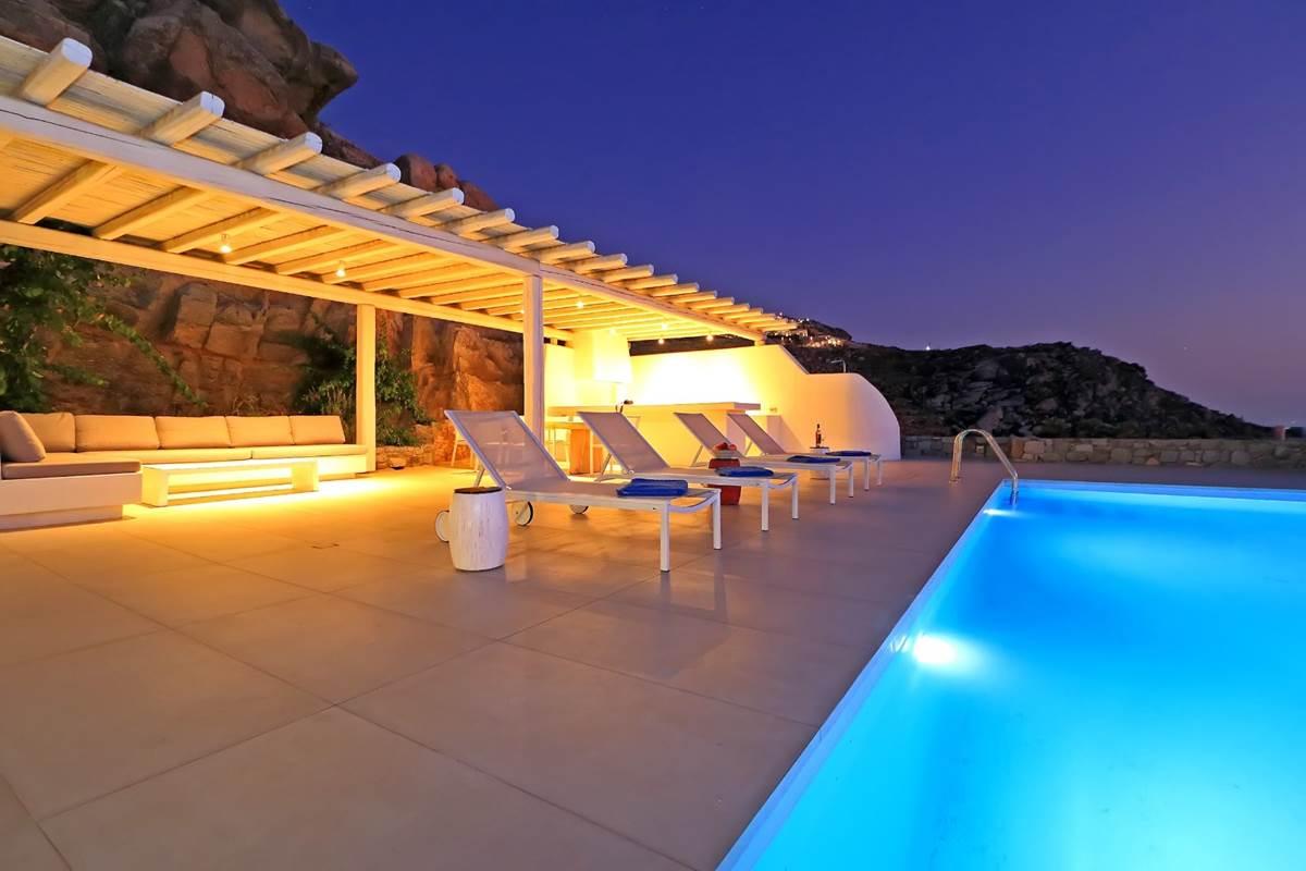 Espace lounge de nuit villa zélia luxe Mykonos