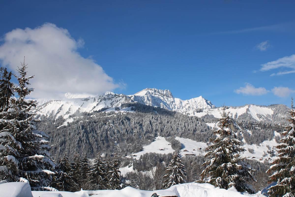 Vue sur la chaine des Aravis depuis l'hôtel le Mont Bisanne