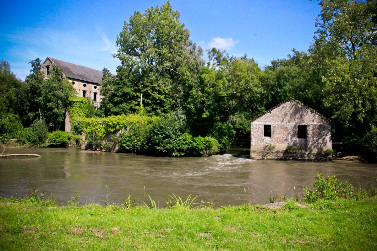 Vue sur la Canche et le Moulin du Bascon