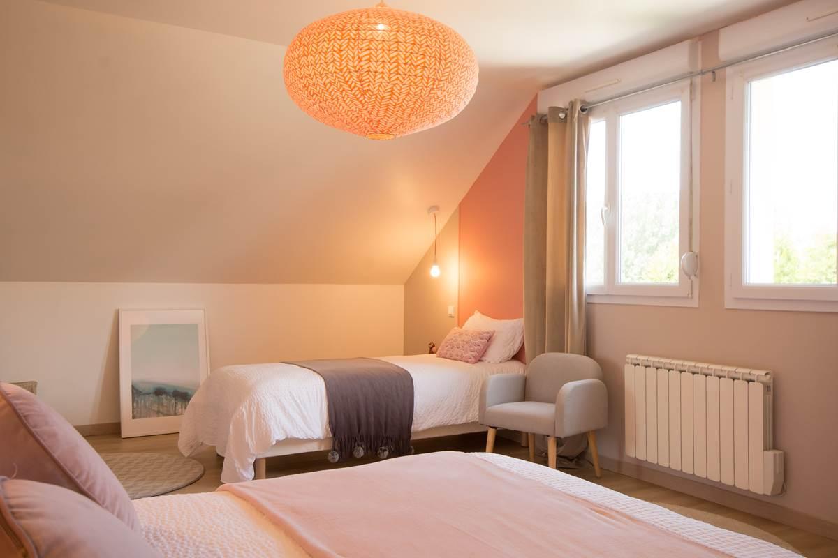 Chambre poudrée 2 étage Gîte du Puit Des GRanges Faux Vesigneul