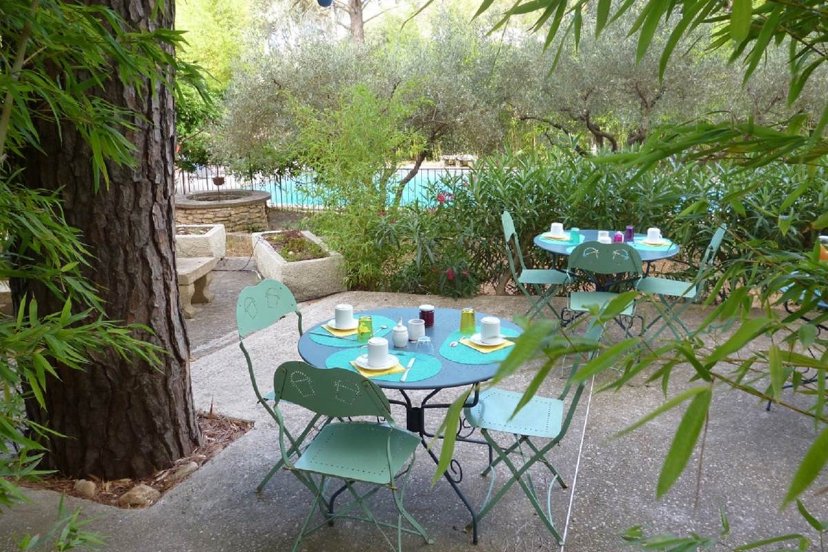 Le petit déjeuner servi en terrasse face à la piscine
