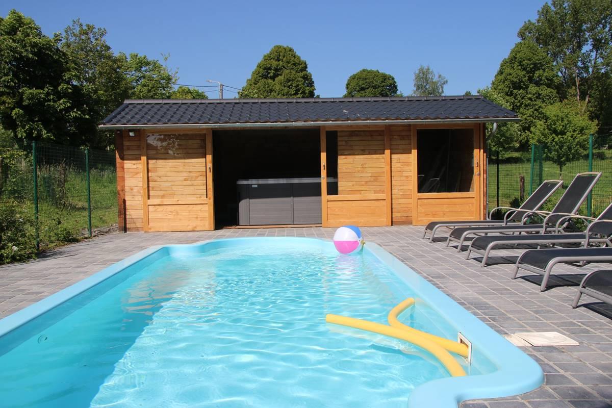 Piscine avec terrasse - Cabanon avec jacuzzi et sauna