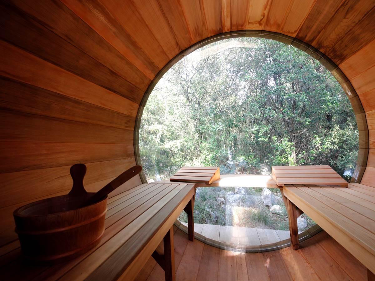 Vue depuis l'intérieur du Sauna