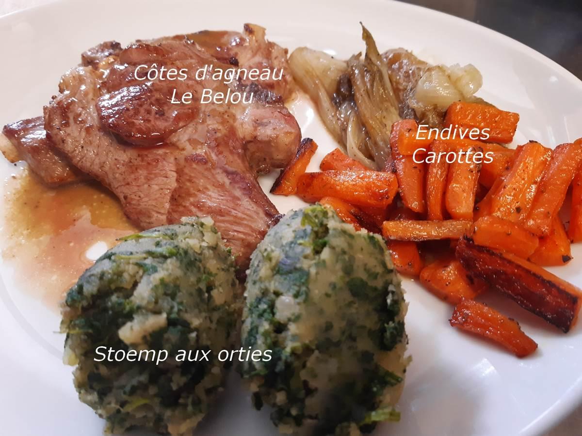 Stoemp aux orties, cotes d'agneau Le Belou, legumes le Ranch des Lacs
