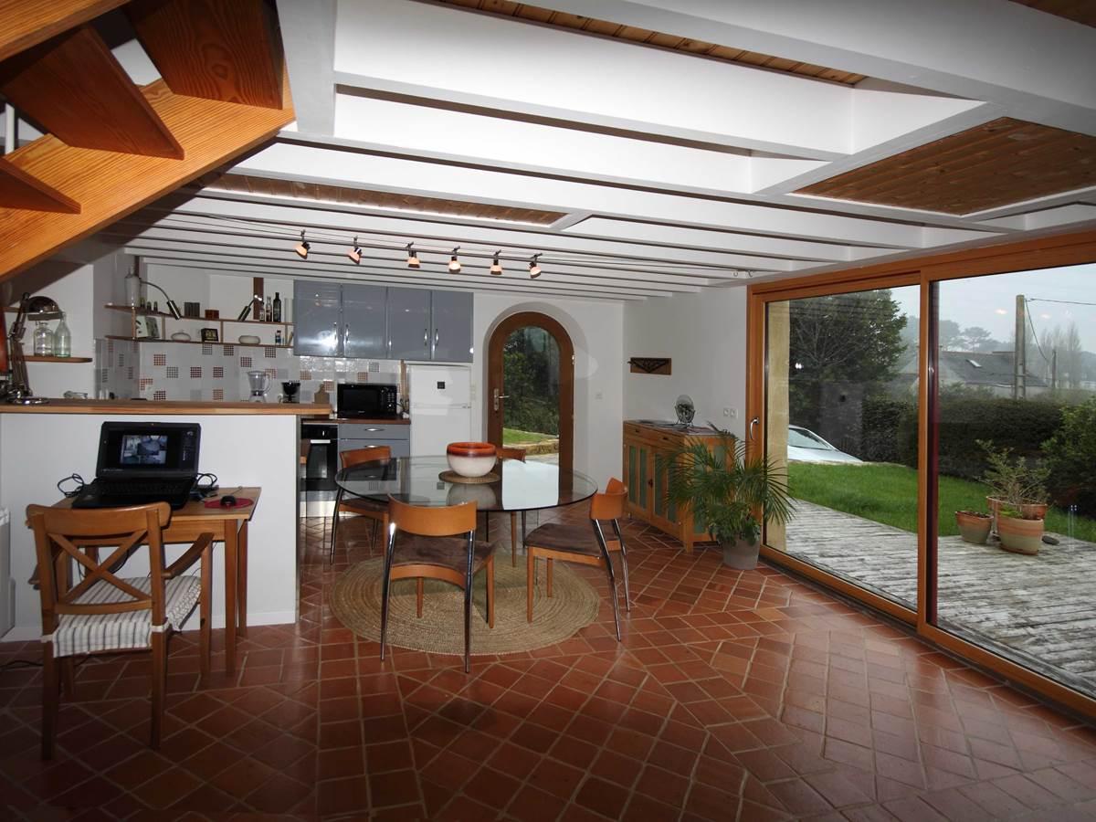 cuisine, table à manger, terrasse