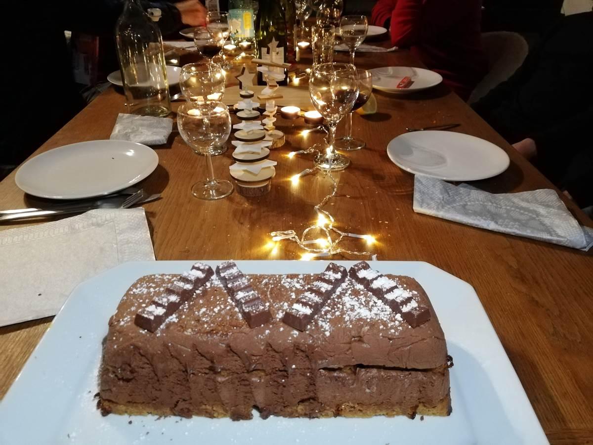 Bûche au chocolat épicé  et pain d'épices