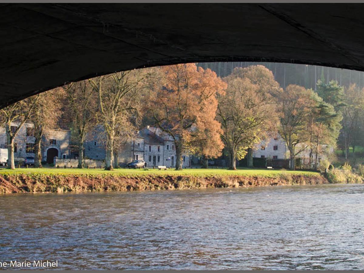 Vue du dessous le pont de Hamoir. Que c'est beau l'automne i