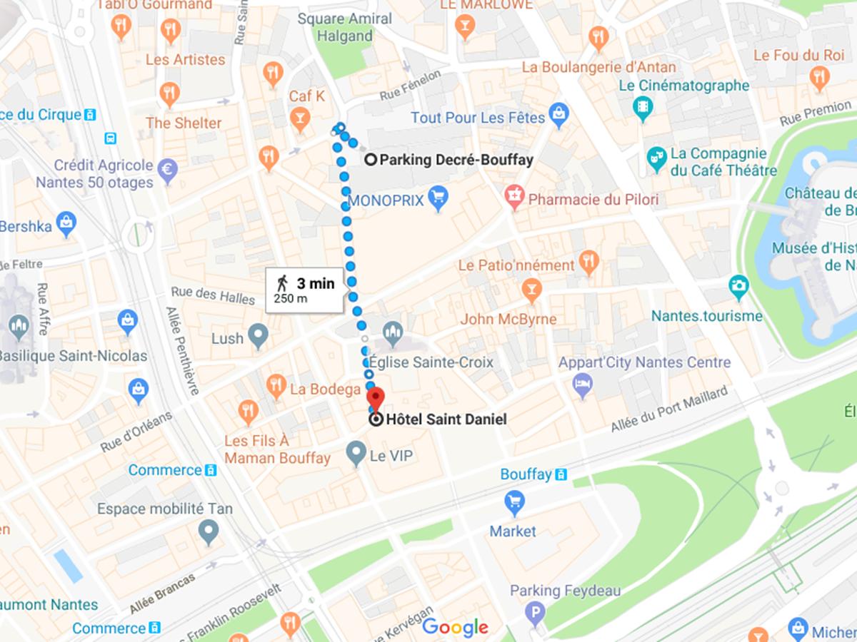 Capture itinéraire parking decré bouffay hotel