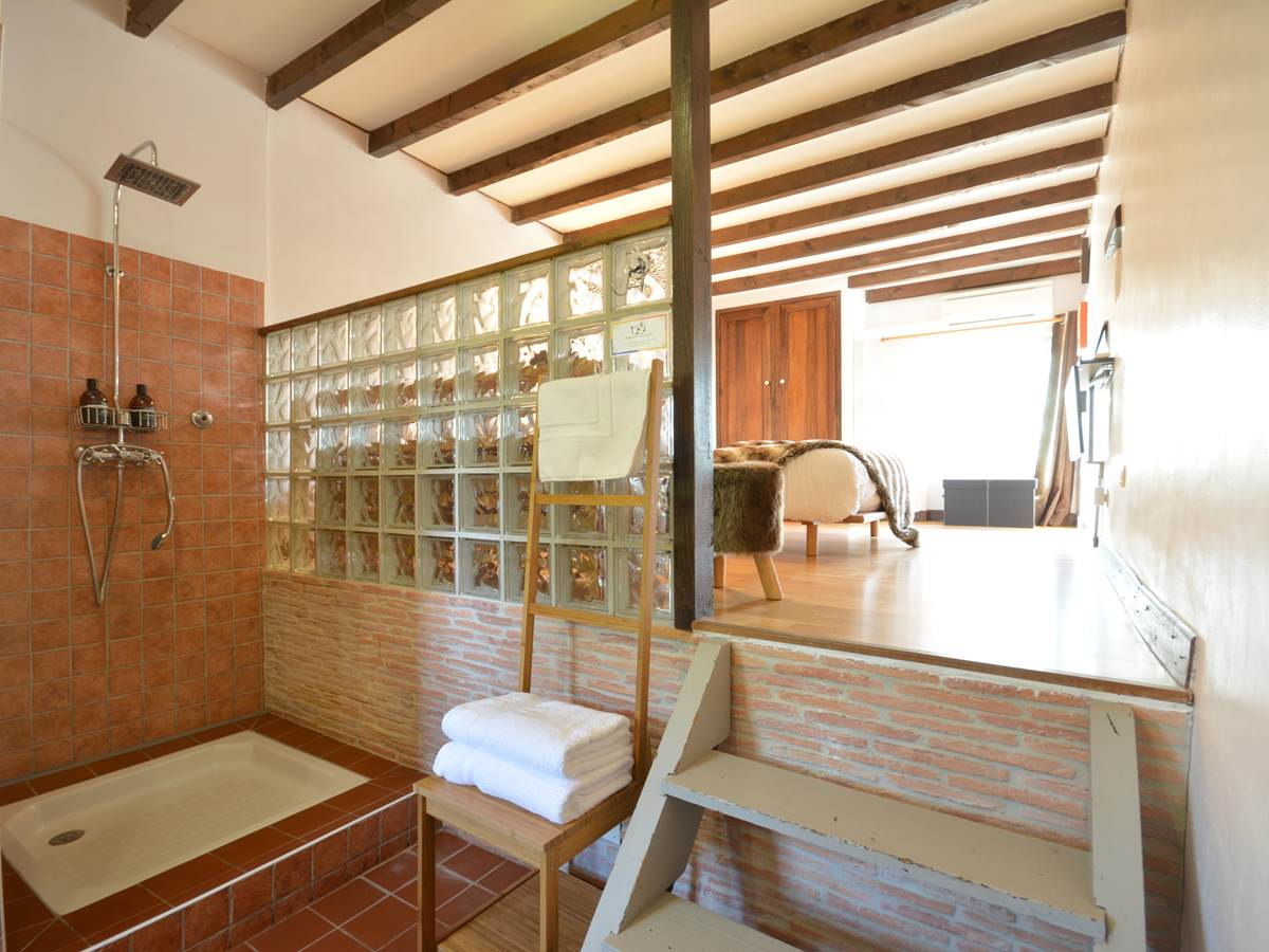 la salle de bain avec douche en open space