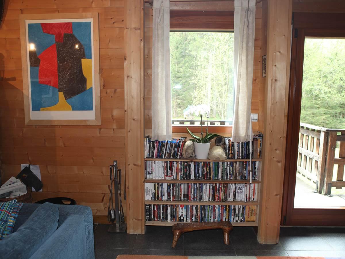 Séjour, pièces d'art de qualité et nombreux Blu-Ray et DVD