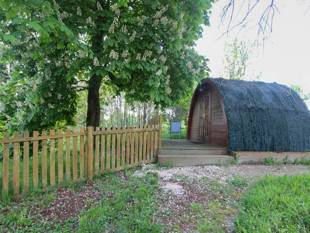 devant la cabane des Hobbits , terrasse privative