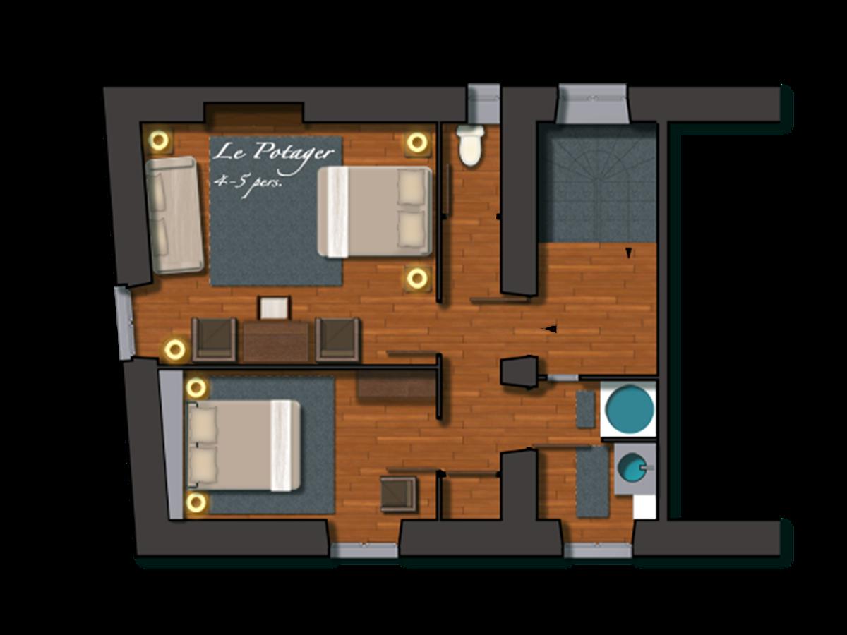 Chambre Le Potager, pour 4 ou 5 personnes