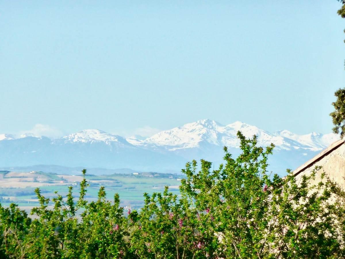 La vue sur les Pyrénées depuis les chambres d'hôtes la Rougeanne à Carcassonne, Canal du Midi, Aude Pays Cathare, Guide Michelin