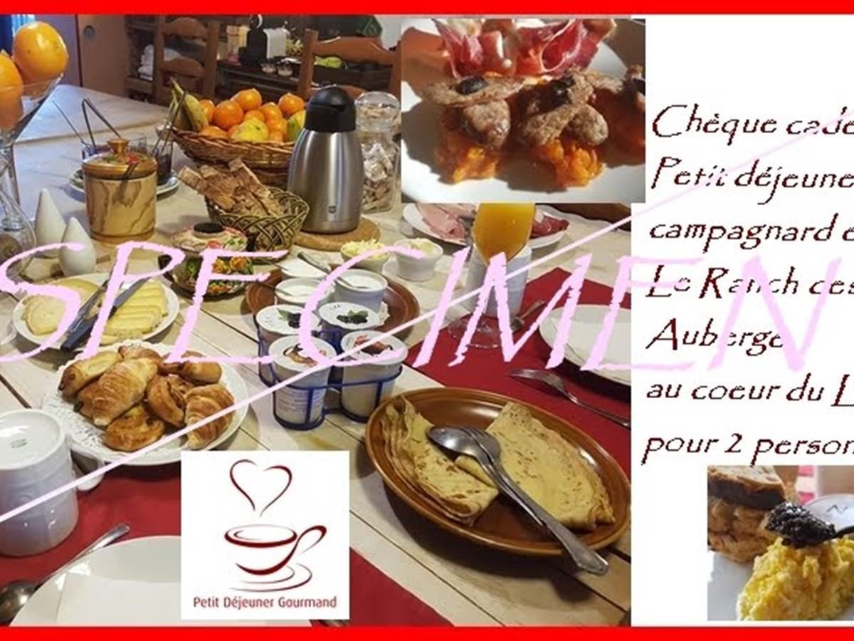 specimen carte cadeau brunch petit déjeuner gourmand prestige au Ranch des Lacs