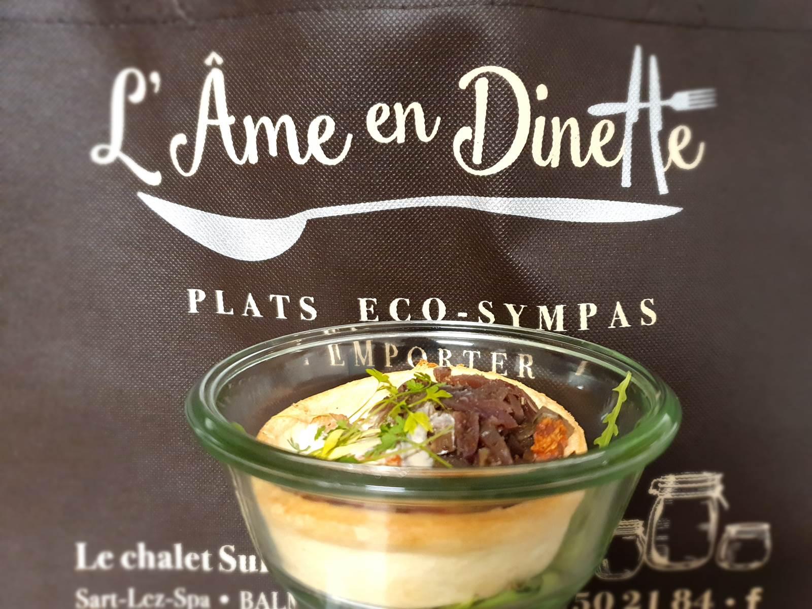 L'âme en dinette, plats à emporter  au Refuges du Chalet, Glamping du Chalet Suisse à Balmoral Spa Jalhay