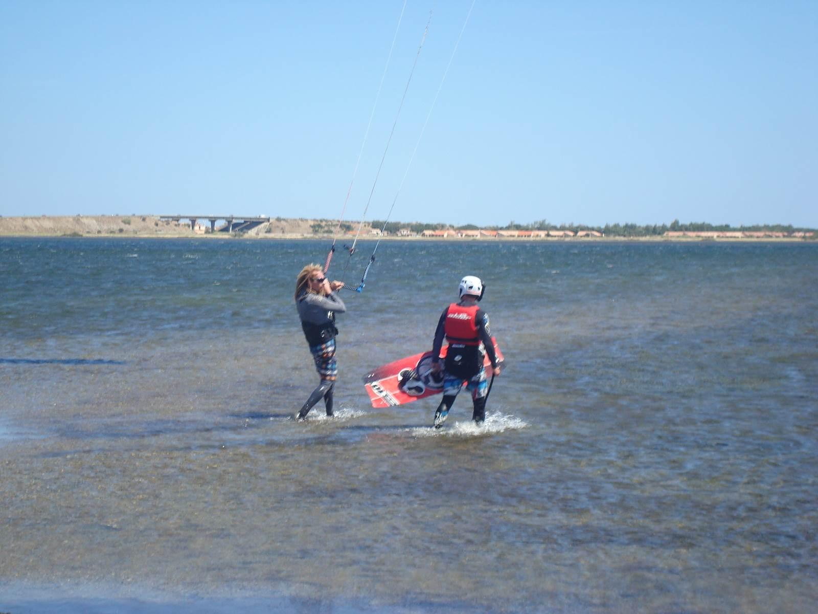 mise à l'eau kitesurf