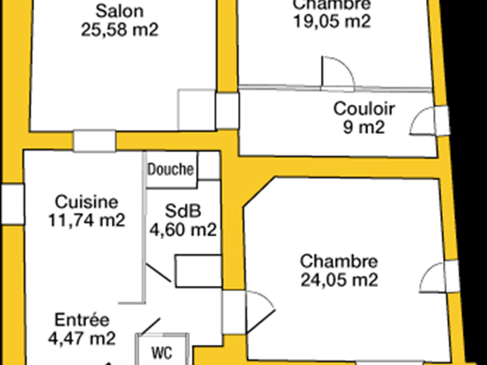 Plan de l' appartement  avec la monté d' escalier qui donne sur la cour pavée