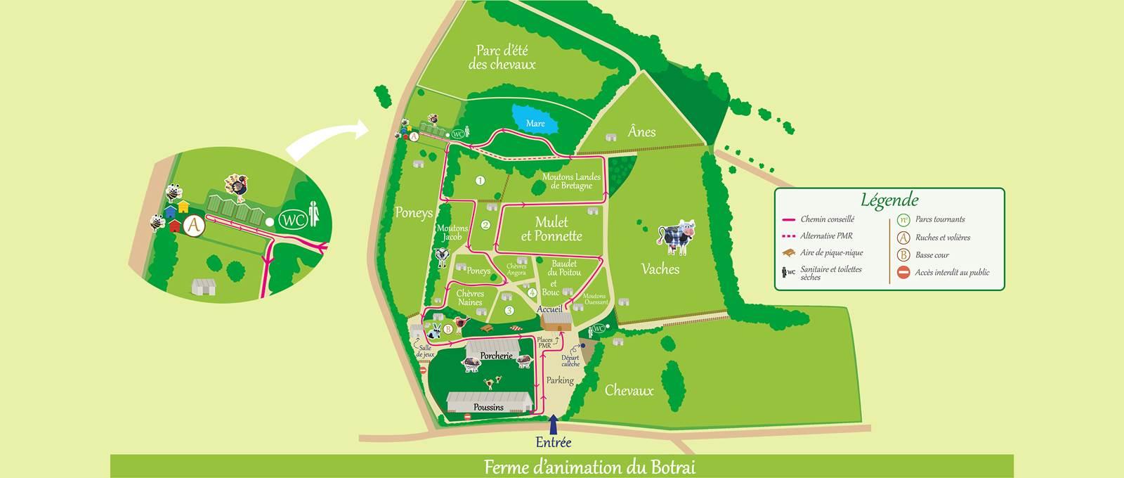 Parcourez le site de la ferme du Botrai grâce au plan de visite