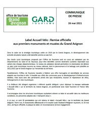 Label Accueil Vélo : Remise officielle aux premiers monuments et musées du Grand Avignon