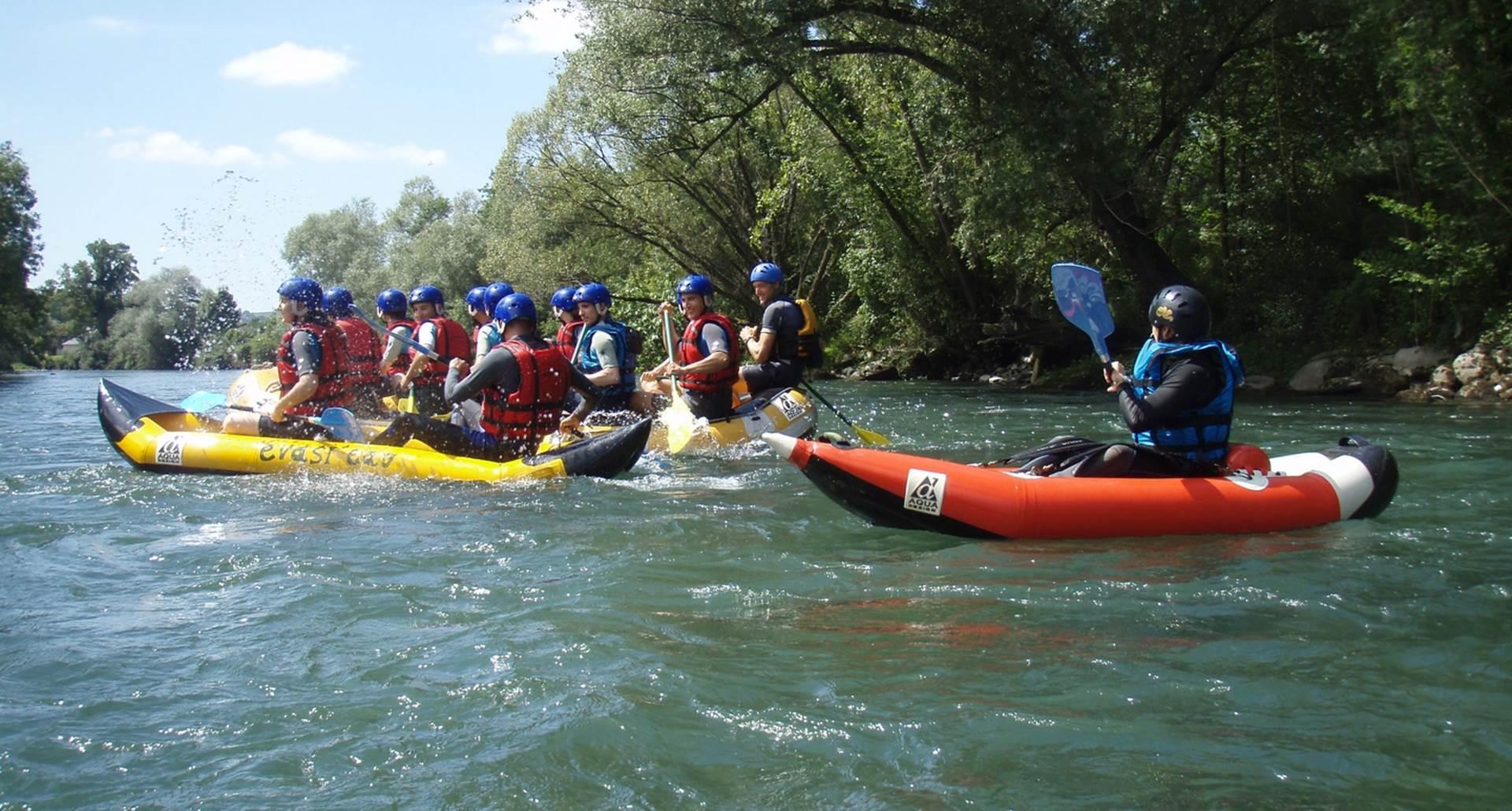 raft Hotdog airboat Evasi'eau