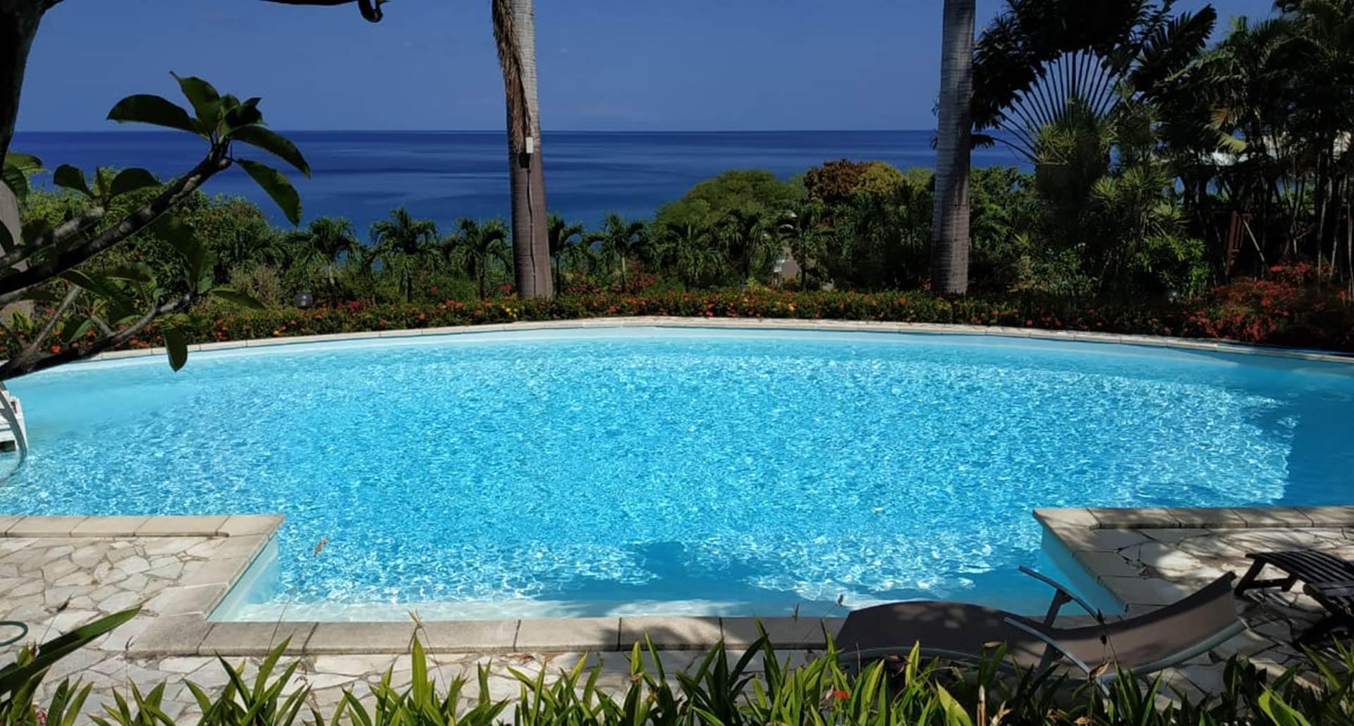 piscine vue mer des Caraibes