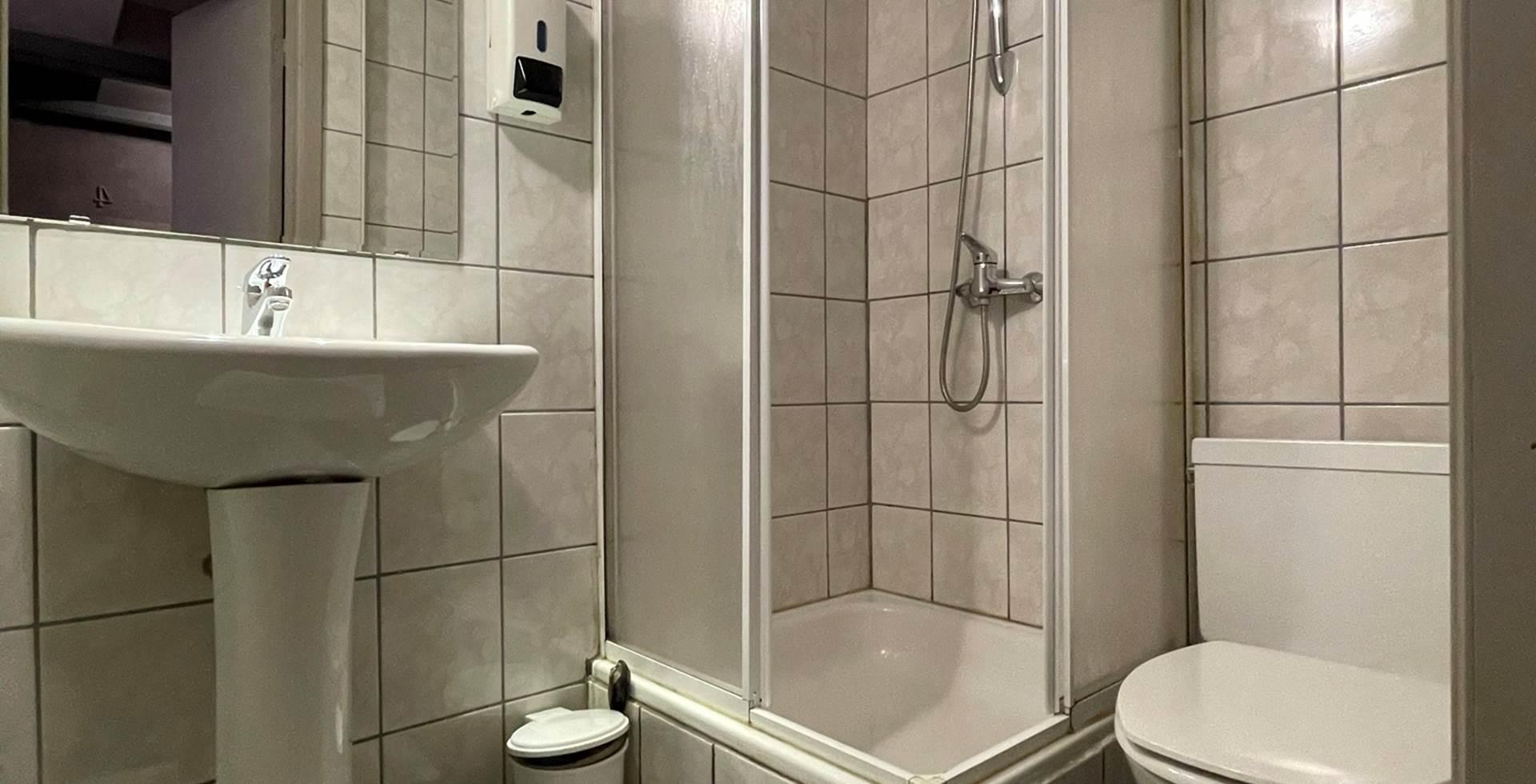 Salle de bain privative de la Chambre Double 3 comprenant une douche, un lavabo, un sèche cheveux et une toilette.