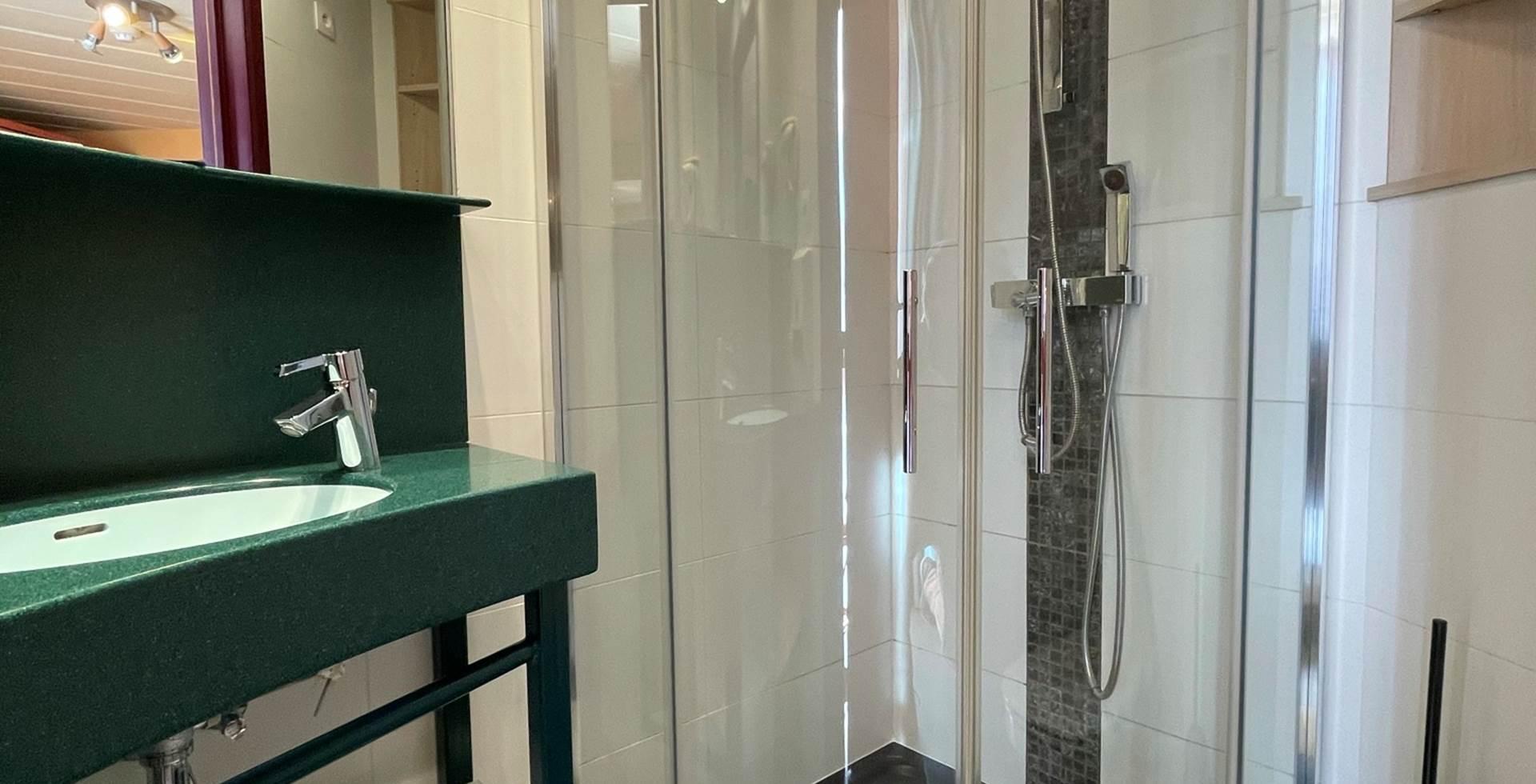 Salle de bain privative des chambres Twin 12 et 22 comprenant une belle douche, un lavabo, un sèche cheveux et toilettes