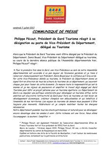 Vice president tourisme 2018