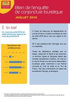 Bilan conjoncture touristique Juillet 2019