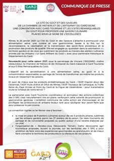 Convention de partenariat dans le cadre de la Cité du Goût et des Saveurs de la CMA 30 avec Gard Tourisme et les 5 Sites Remarquables du Goût
