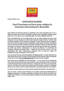 Gard Tourisme en force pour séduire le tourisme international à Bruxelles