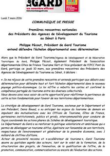 Premières rencontres nationales des Présidents des ADT au Sénat à Paris