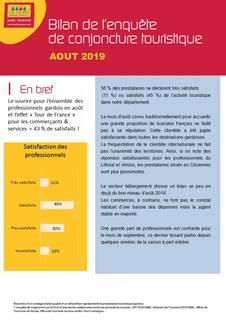 BILAN CONJONCTURE TOURISTIQUE AOUT 2019