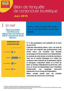 Bilan conjoncture touristique Juin 2019