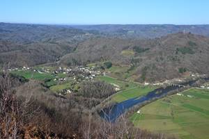 Monceaux sur Dordogne   vue départ deltaplanes